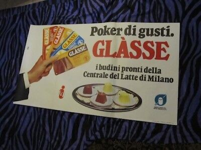 RARE ITALIAN ADVERTISING DESSERT POSTER! VTG GLASSE FROM ITALY Sign 1970's