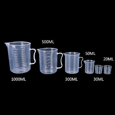 20/30/50/300/500/1000ML Plastic Measuring Cup Jug Pour Spout Surface Kitchen FT