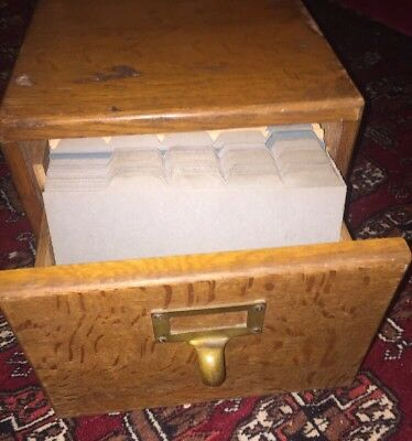 Antique 0ak filing Drawer with vintage unused file inserts & Brass Handle