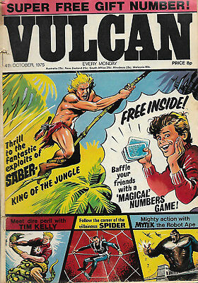 Vulcan dated 4th Oct 1975, classic British comic, Steel Claw, The Spider Etc.