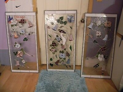 3 Panels of Stain Glass in Great Condition 2 side panels 20.5x43 5/16 in Center