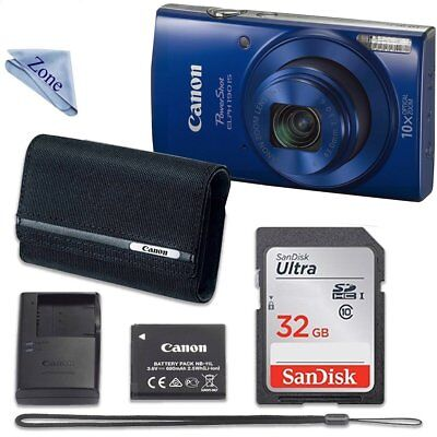 Canon Powershot Elph 190 Digital Camera (Blue) With 32Gb Memory + Canon Psc-2070