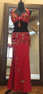 Professional Authentic Egyptian Red Beaded Sequins Belly Dance Costume 4 Pieces