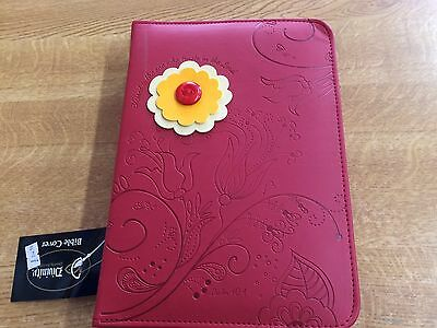 """bible case / book cover red Large luxeleather   """"blessed is the one"""""""