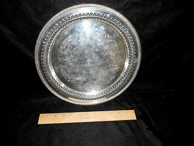 """Vtg Wm Rogers Serving Tray Silver Plated 12 1/4"""" Round Pierced Eagle Star #172"""