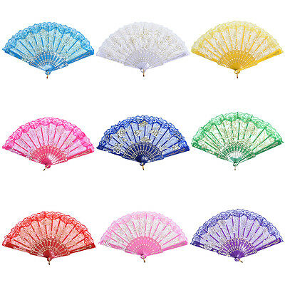 Chinese Style Dance Party Wedding Lace Folding Hand Held Flower Fan FT