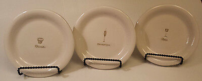 """Set (3) WILLIAMS SONOMA Ivory Embossed Wine/Cheese Appetizer Plates - 6 5/16"""" D"""