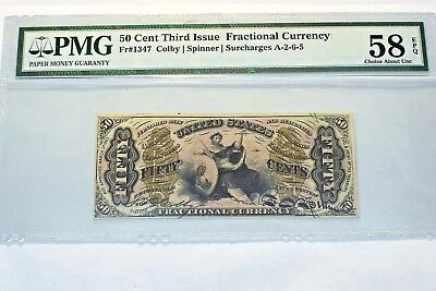 50 Cent Third Issue Fractional Currency Fr # 1347 Pmg 58 Choice About Unc. Epq