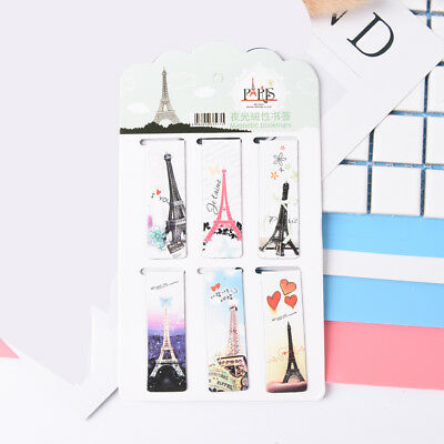 "6pcs Eiffel Tower Paper Bookmarks Magnetic Book Marks School""Supplies StationssF"