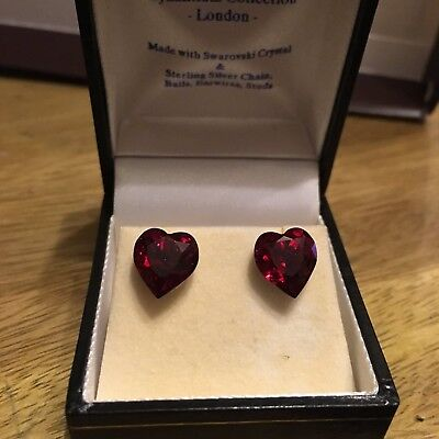 925 Heart Shaped Red Ear Studs made with Swarovski Crystal