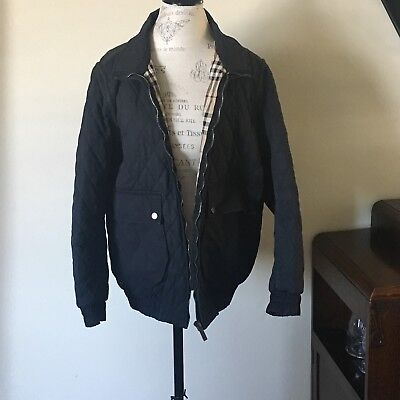 Burberry Men's Quilted Black Jacket SIZE Large