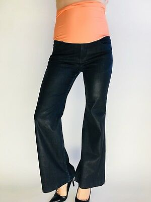 4cdf8ac6b3cd1 7 For All Mankind Ginger Flare Waxed Blue Maternity Jeans Full Belly Panel  29x31