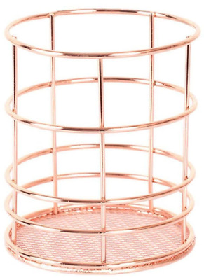 Bronze Metal Wire Pen Pencil Holder , Makeup Brush Cups Container , Wired Mesh D