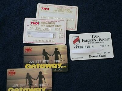 Vintage TWA Credit Cards, Getaway Cards and Frequent Flyer Cards