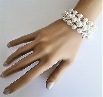 Bridal Silver Pearl And Crystal Wraparound Bracelet Bangle Cuff Prom Wide