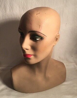Vintage plaster hand painted Woman Female BUST WIG HAT display MANNEQUIN 14""