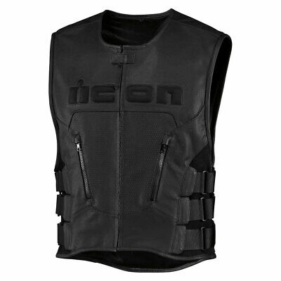 2018 Icon Mens Regulator Leather Motorcycle Vest D30 Relaxed Fit - Pick Size