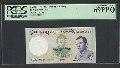 Bhutan 10 Ngultrum 2013 P29a Uncirculated Grade 69