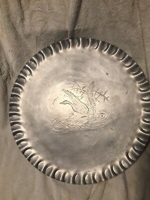 Large 18 Inch Wendell August Forge Platter. Hand Hammered Aluminum. Duck.