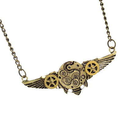 Steampunk Gear Angel Wings Pendant Chain Necklace Unisex Victorian Accessory