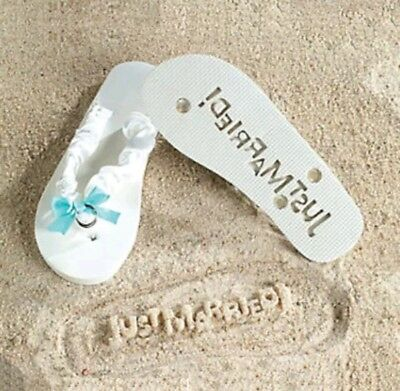 NEW Bride Just Married sz 9/10 White Message in Sand Flip Flops Wedding Sandals