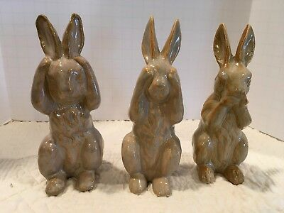 "Ceramic See, Hear, Speak No Evil Rabbit Bunnies Figurines Each 5 1/2"" Tall"