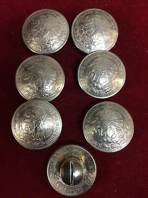 Conchos: 7  Mexican older 50 Centavo nickle silver Real Coins w/ Post & Screw