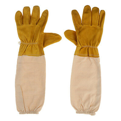 52cm Beekeeping Bee Gloves - Soft White Goats Leather with Cotton Gauntlets