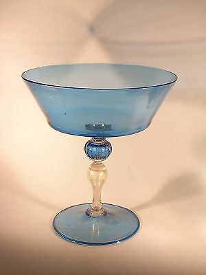 Large 1940s Barovier Italian Murano Glass Compote - Blue w/ Oro Golden Flecks