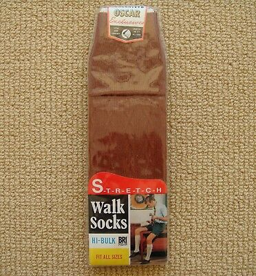 Vintage Men's Stretch Brown Walk Socks In Original Packet 1960's Australian Made