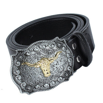 Men Western Cowboy Leather Belt Large Bull Head Metal Buckle Native American