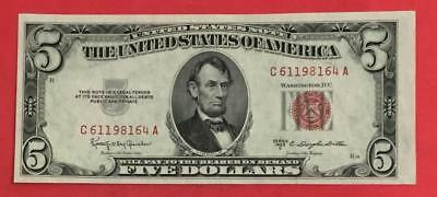 1953C $5 RED US Legal Tender Choice Crisp AU! X164 Old US Paper Currency