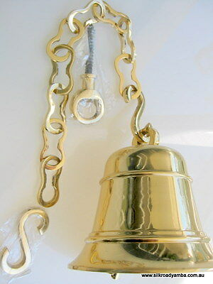 """USED XL large Front Door school SHIP Bell chain POLISHED brass old style heavy8"""""""