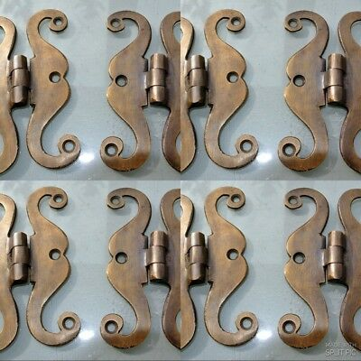 """8 small snake hinge old aged style heavy solid Brass kitchens antiques doors 4"""""""