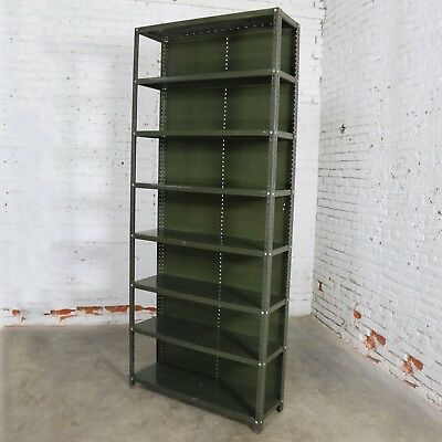 Industrial Steel Bookcase Shelving Unit Original Paint with Great Patina Vintage