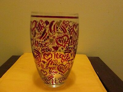 "Decorative I Love You Heart Vase Clear Red & Gold 10"" Height and 5.5"" Across Top"