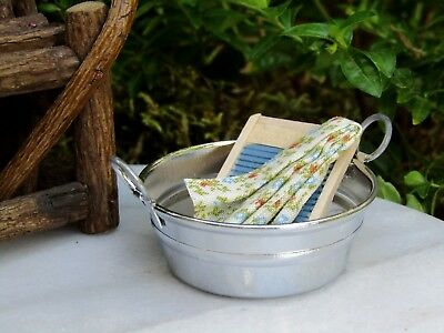 Miniature Dollhouse FAIRY GARDEN Accessories ~ Metal Washtub w Wood Washboard