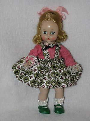 "Vintage Bent Knee 8"" Madame Alexander Doll Marked-ALEX  In Tagged Vogue Dress"