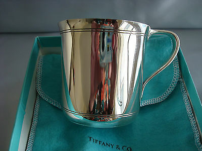 TIFFANY sterling silver ~ MINT IN BOX ~ ART DECO BABY CHILD CUP box, pouch,card