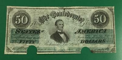 1862 $50 US Confederate States of America FINE & Cancelled! High Catalog!