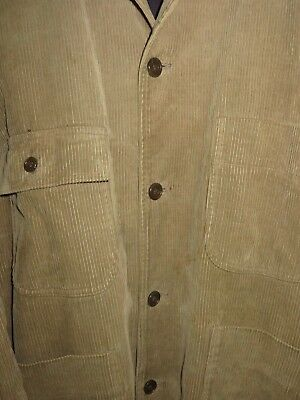 Vintage 80s Country Road Workwear Corduroy Jacket Mens Coat Light Brown