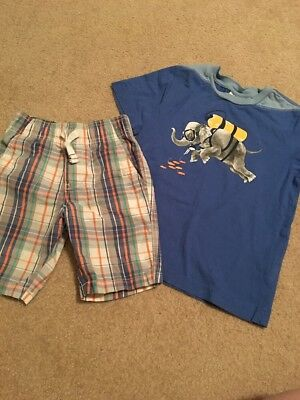 Hanna Andersson 110 (5) Boys Scuba Diving Elephant Tee & Carter's Plaid Shorts