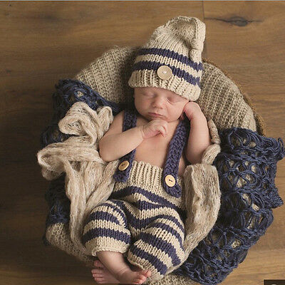 Newborn Baby Boys Crochet Knit Photography Photo Prop Outfits  For 0-3 Months
