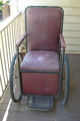 Antique?vintage full-size wheelchair - Ex-'Larundel Ward 13' - museum piece?