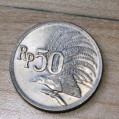 1971 Indonesia 50 Rupiah Greater Bird of Paradise