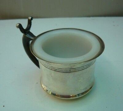 Vintage Apollo Silver shaving mug with milk glass insert - in exclt condition