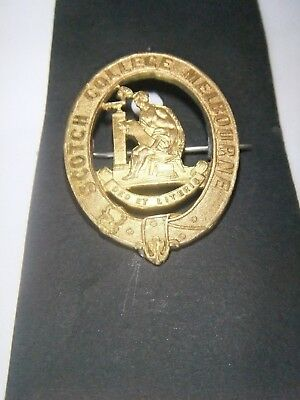 Vintage Scotch College Melbourne Brass Hat Badge - Stokes