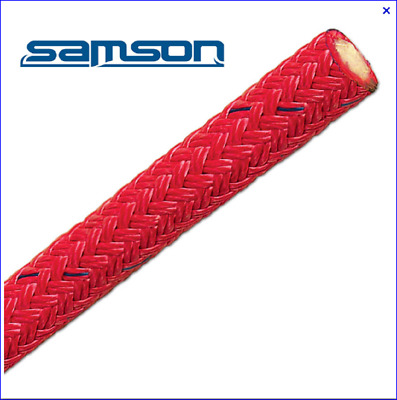 "75' of 5/8"" Red Samson Stable Braid Rigging Bull Rope Free Shipping"