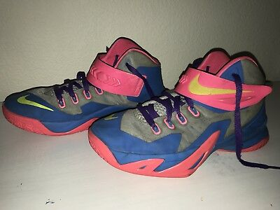 74ee950fa46 NIKE ZOOM LEBRON SOLDIER VIII 8 PRM BLUE PINK YELLOW GRAY PURPLE GRAY size  7y