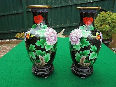 Vintage Pair Cloisonne Vases With Original Stands Peony Rose & Cherry Blossom